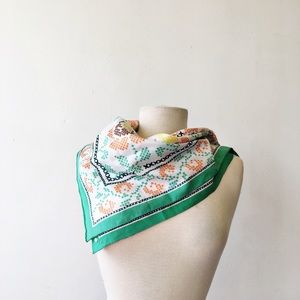 Vintage 70's Cross Stitch Green Polyester Scarf
